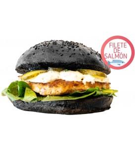 Black Burger Rusa con salmón picado